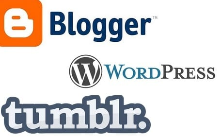 Blogger Wordpress Tumblr 3 free Blogging Platforms