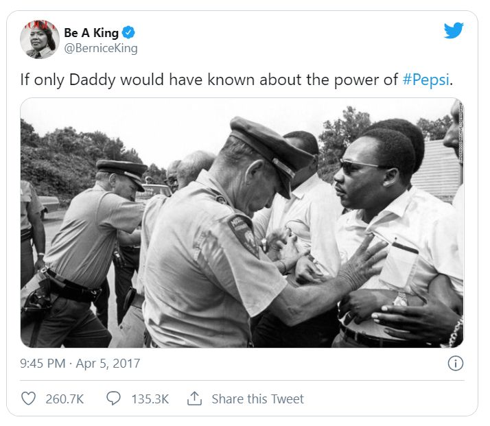 Pepsi's Poor Ad Campaign Provoked a Response from Bernice King, daughter of civil rights activist Martin Luther King Jr.