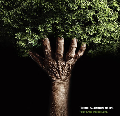 Eye catching and clever print ad conveying the social message of saving trees