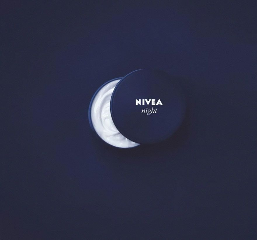Nivea night cream or a crescent moon? By cleverly photographing their night cream container, not fully open with a dark background, Nivea's ad gives us the illusion of a moon in the night sky